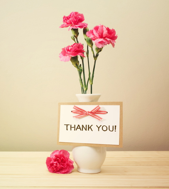 Thank you card w/pink carnations